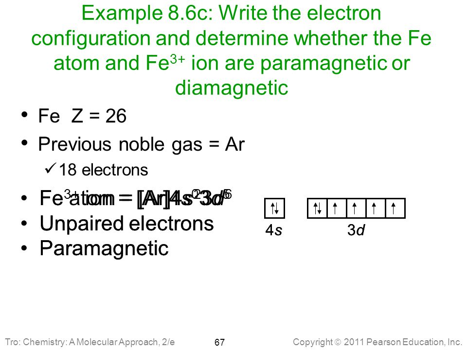 Example 8.6c: Write the electron configuration and determine whether the Fe atom and Fe3+ ion are paramagnetic or diamagnetic