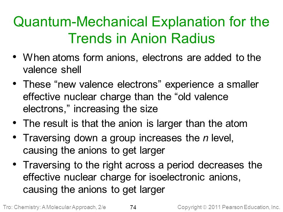 Quantum-Mechanical Explanation for the Trends in Anion Radius