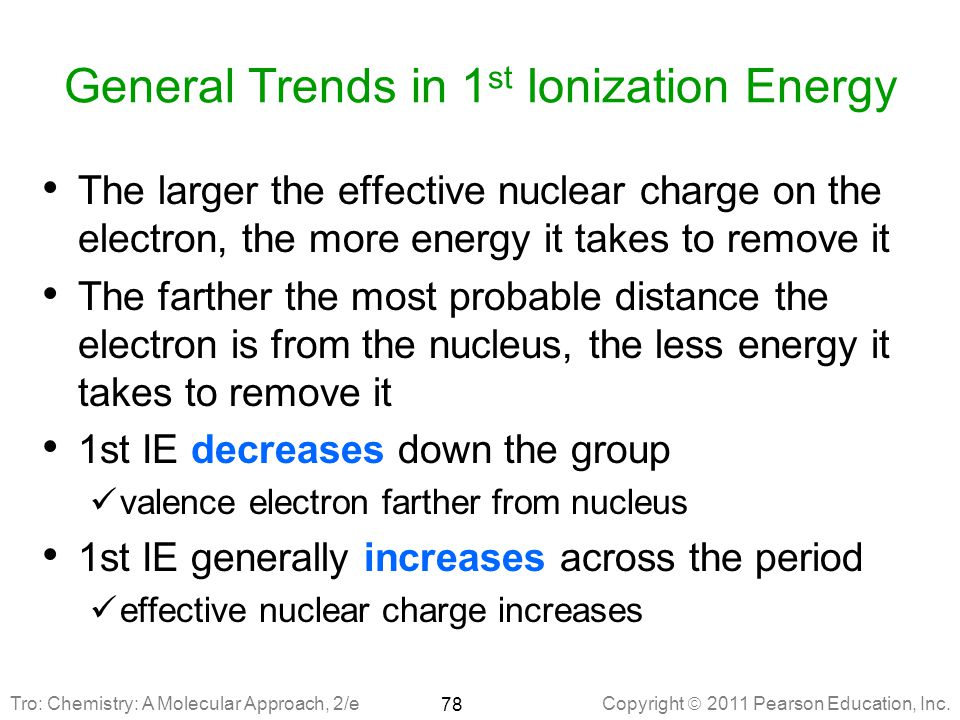 General Trends in 1st Ionization Energy