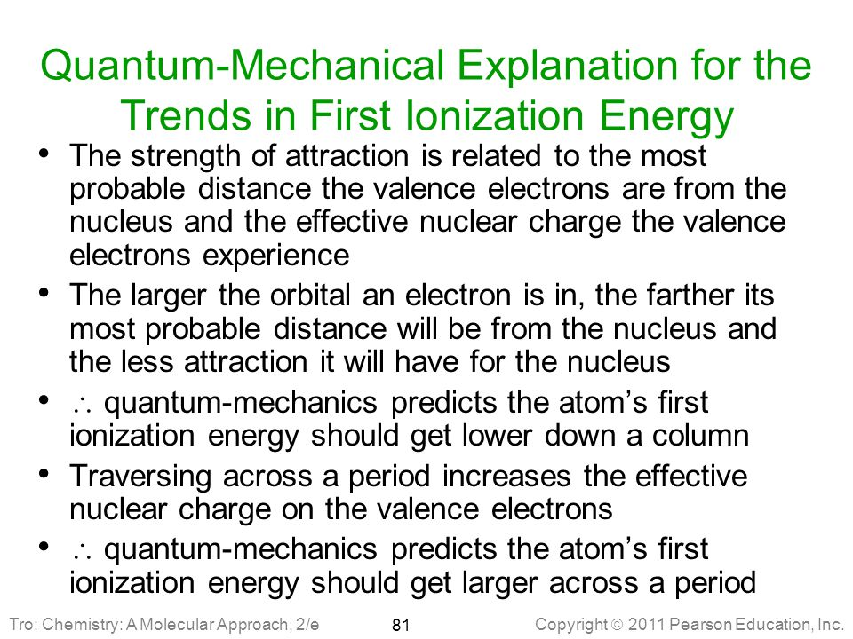 Quantum-Mechanical Explanation for the Trends in First Ionization Energy