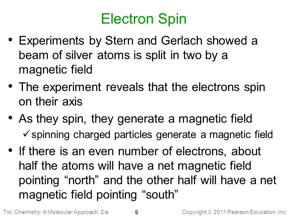 Electron Spin Experiments by Stern and Gerlach showed a beam of silver atoms is split in two by a magnetic field.