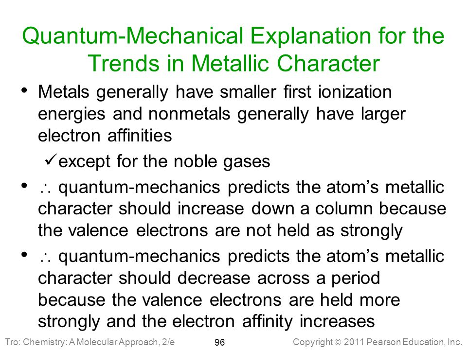 Quantum-Mechanical Explanation for the Trends in Metallic Character