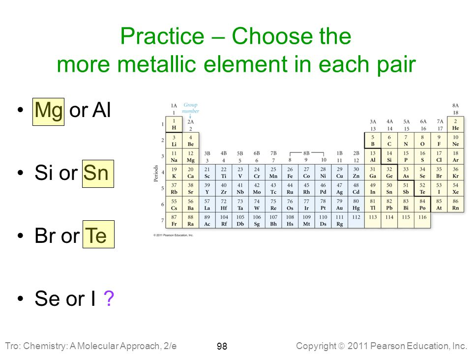 Practice – Choose the more metallic element in each pair