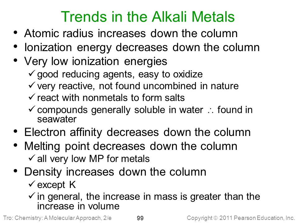 Trends in the Alkali Metals