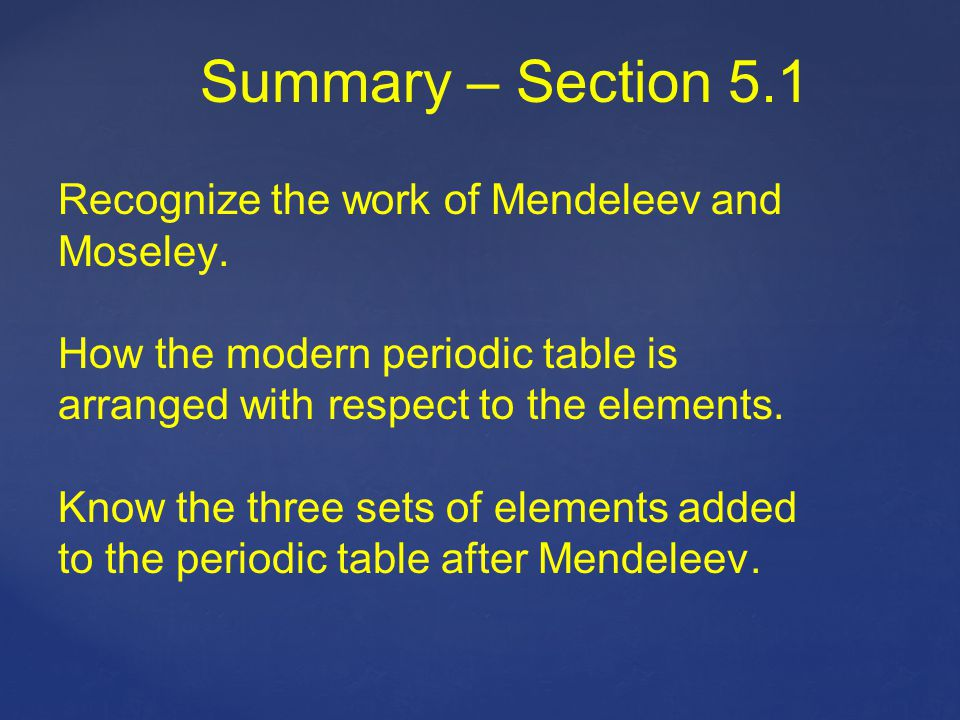 Summary – Section 5.1 Recognize the work of Mendeleev and Moseley.