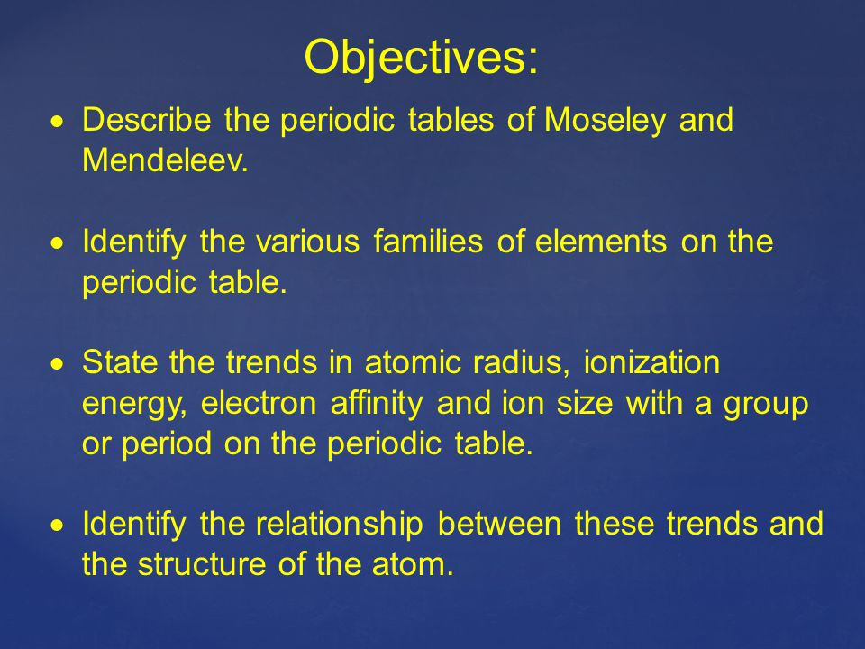 Objectives: Describe the periodic tables of Moseley and Mendeleev.