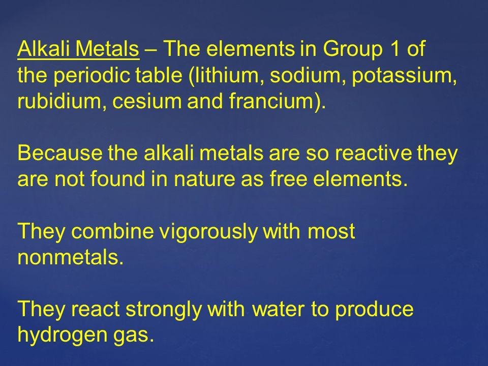 Alkali Metals – The elements in Group 1 of the periodic table (lithium, sodium, potassium, rubidium, cesium and francium).