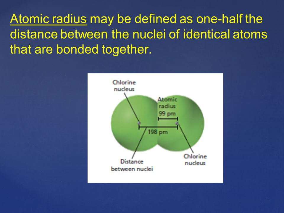 Atomic radius may be defined as one-half the distance between the nuclei of identical atoms that are bonded together.