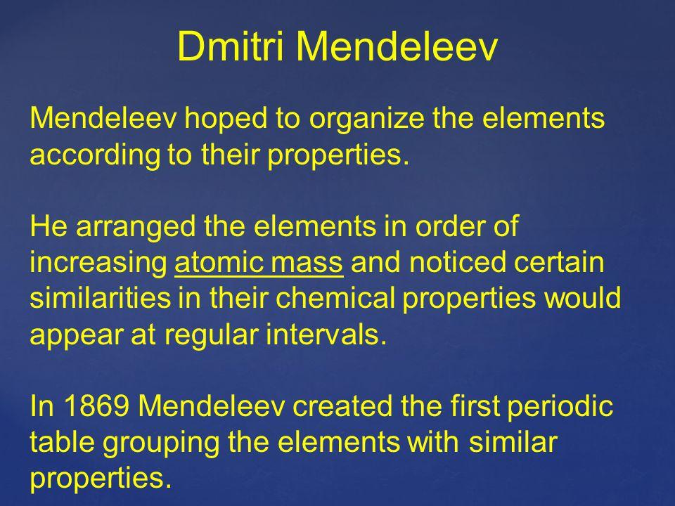Dmitri Mendeleev Mendeleev hoped to organize the elements according to their properties.