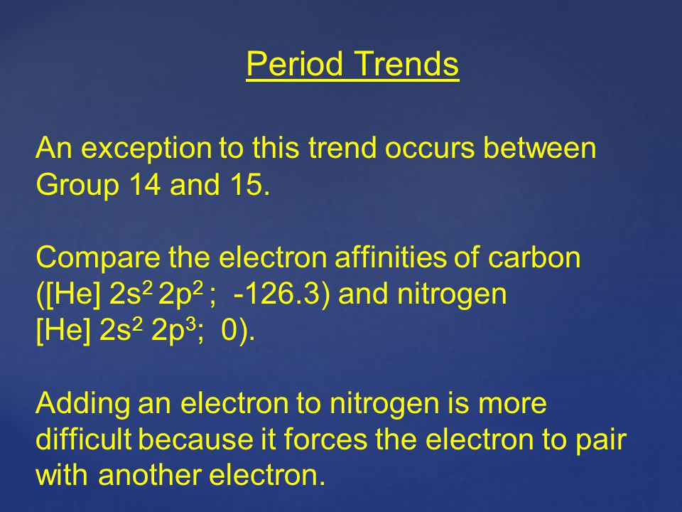 Period Trends An exception to this trend occurs between Group 14 and 15.
