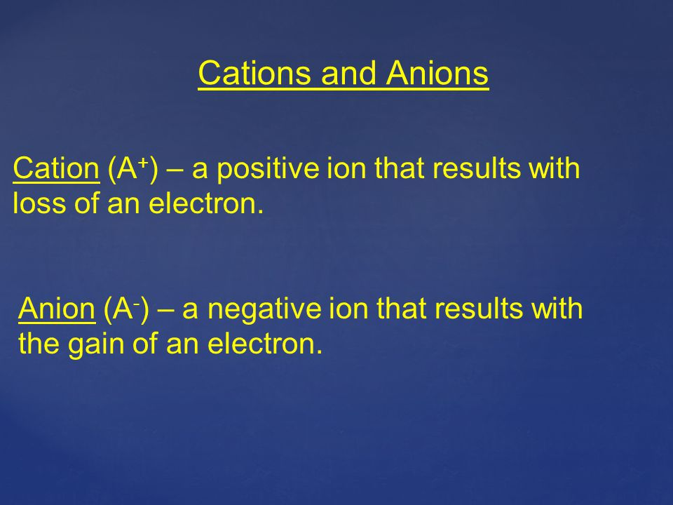 Cations and Anions Cation (A+) – a positive ion that results with