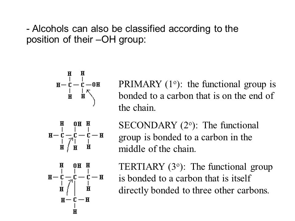 - Alcohols can also be classified according to the position of their –OH group: