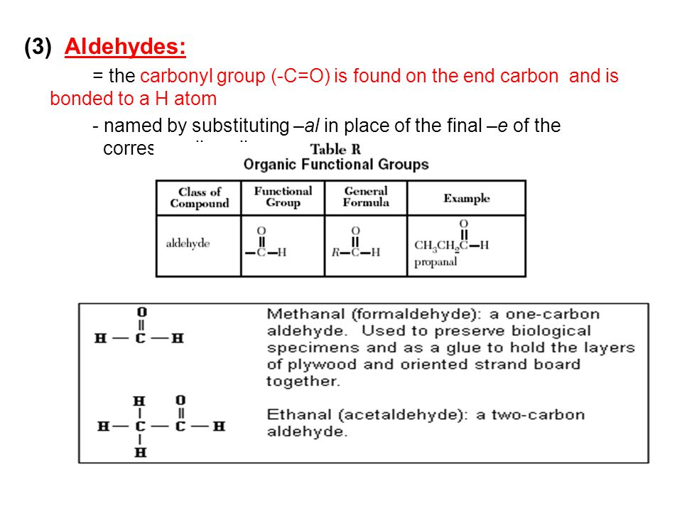 (3) Aldehydes: = the carbonyl group (-C=O) is found on the end carbon and is bonded to a H atom.
