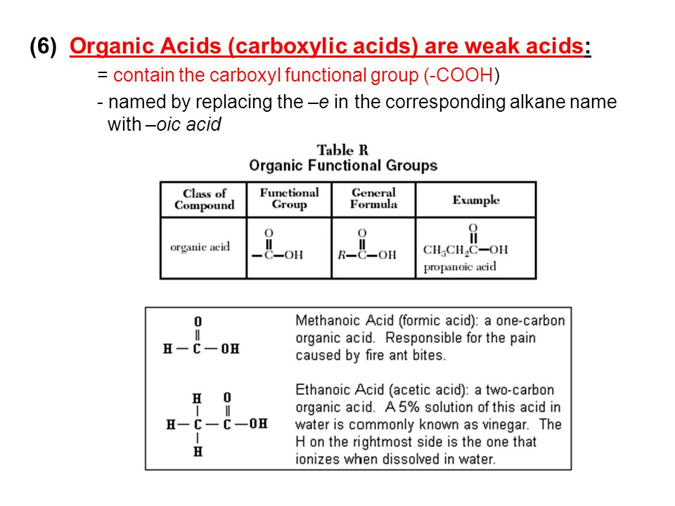 (6) Organic Acids (carboxylic acids) are weak acids: