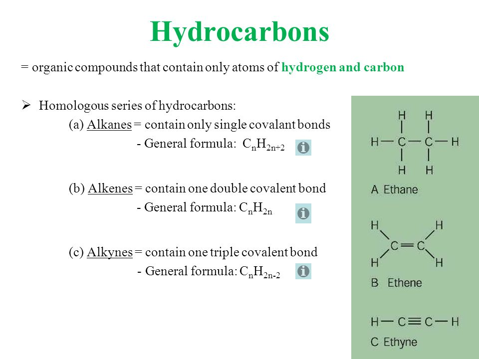 Hydrocarbons = organic compounds that contain only atoms of hydrogen and carbon. Homologous series of hydrocarbons:
