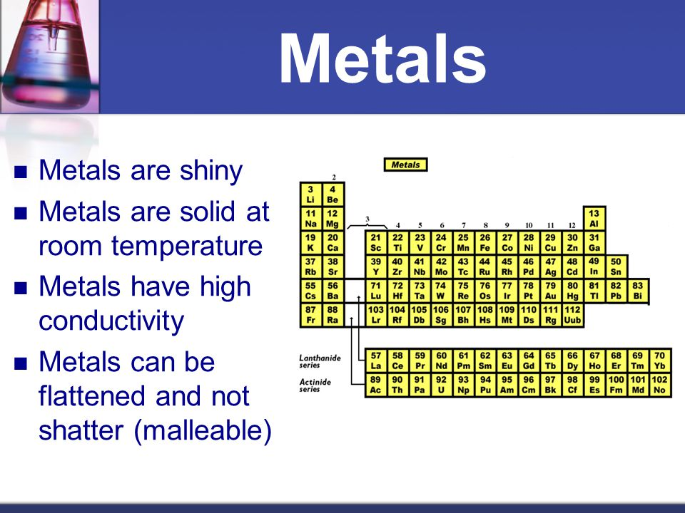 Metals Metals are shiny Metals are solid at room temperature