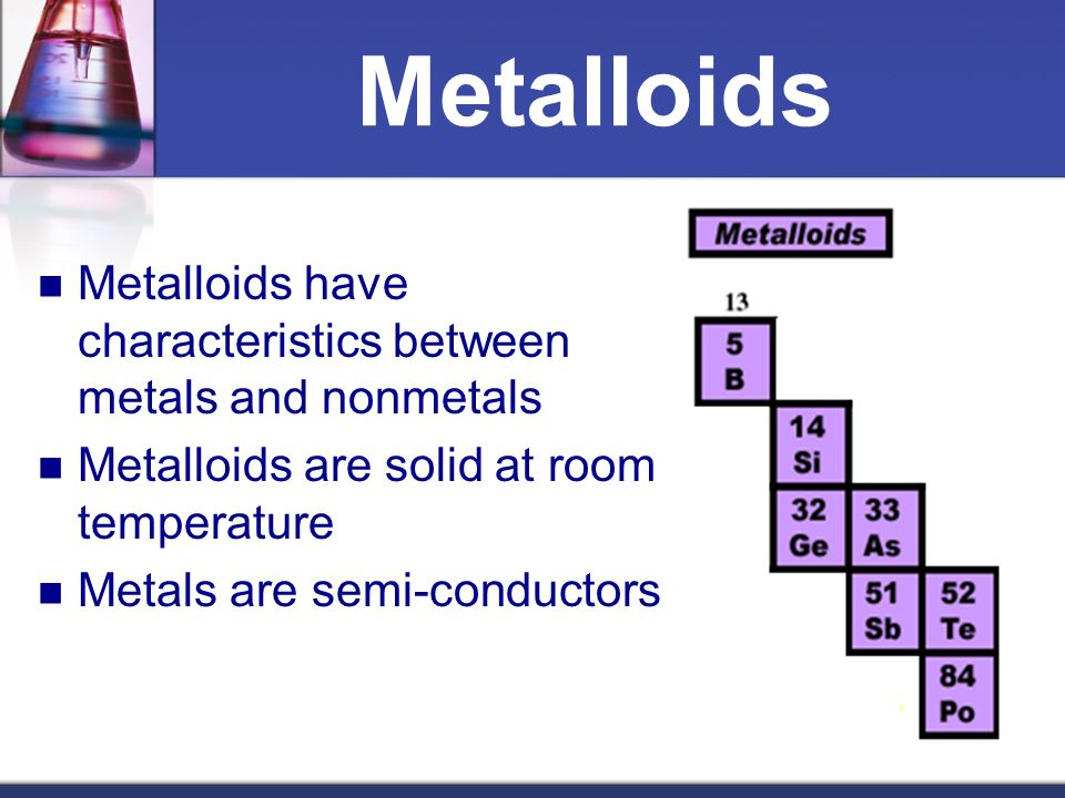 Metalloids Metalloids have characteristics between metals and nonmetals. Metalloids are solid at room temperature.