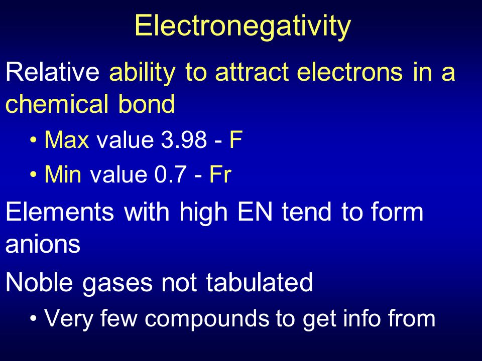 Electronegativity Relative ability to attract electrons in a chemical bond. Max value 3.98 - F. Min value 0.7 - Fr.