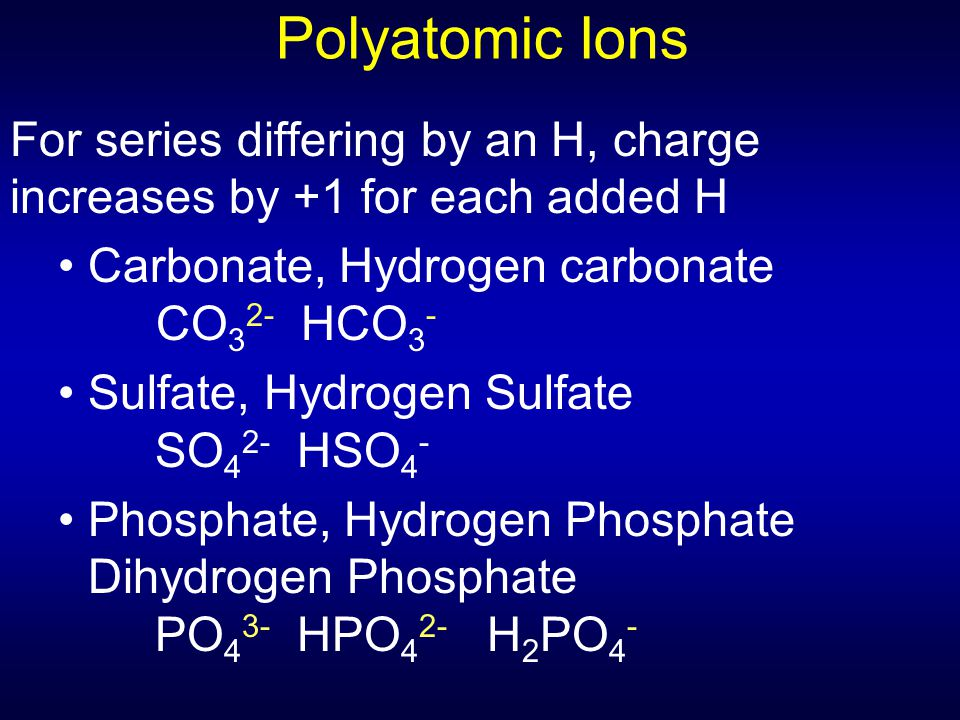 Polyatomic Ions For series differing by an H, charge increases by +1 for each added H. Carbonate, Hydrogen carbonate CO32- HCO3-