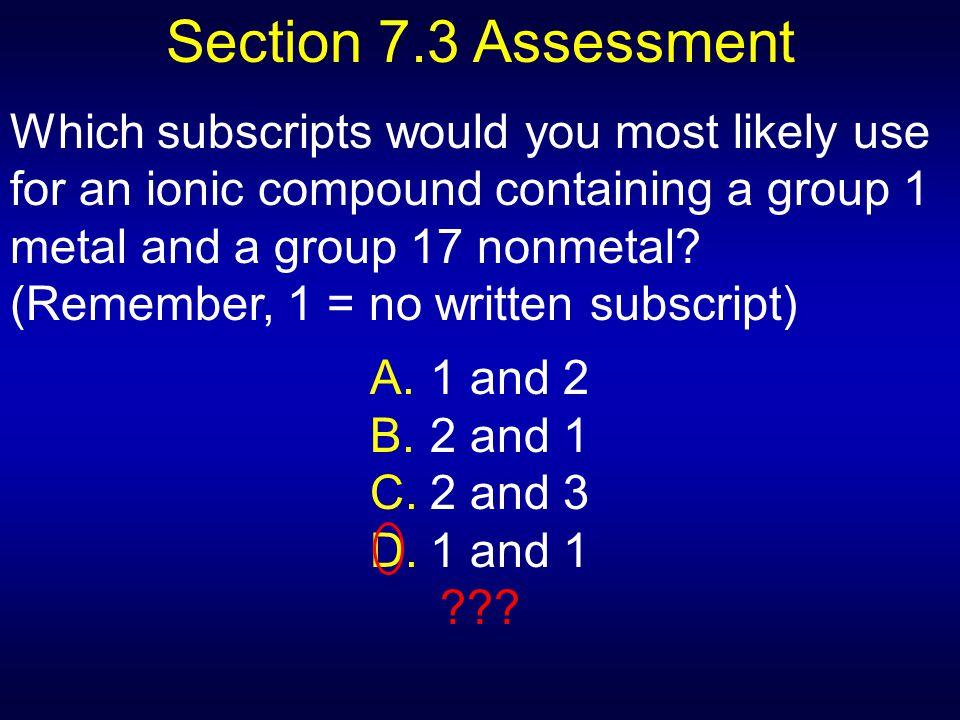 Section 7.3 Assessment
