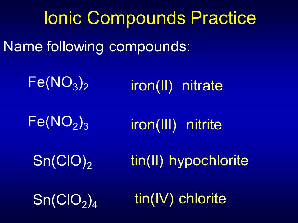 Ionic Compounds Practice
