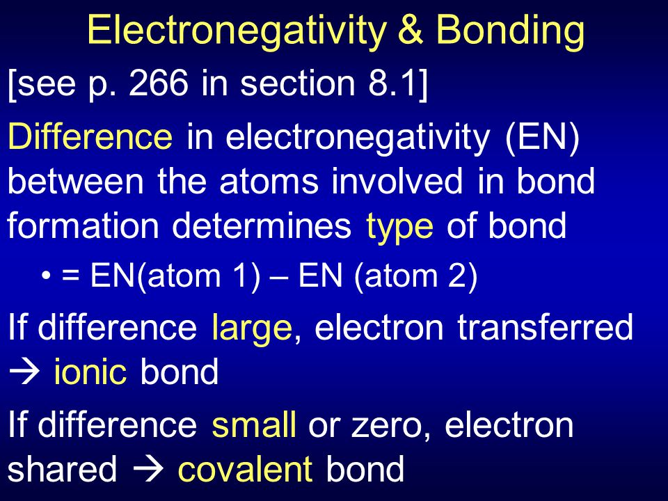 Electronegativity & Bonding