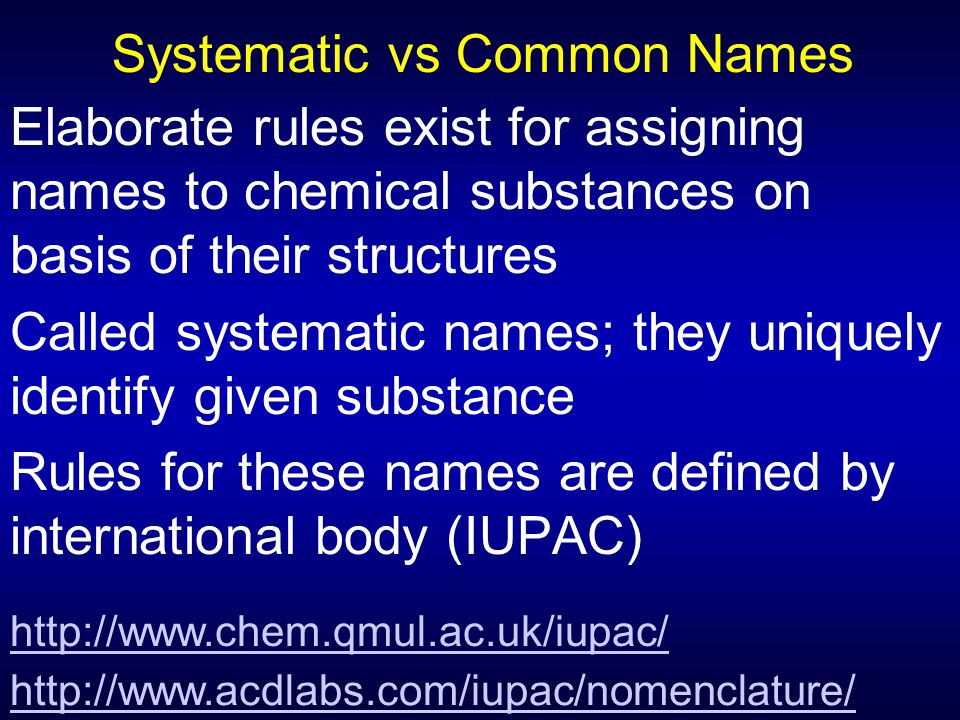 Systematic vs Common Names