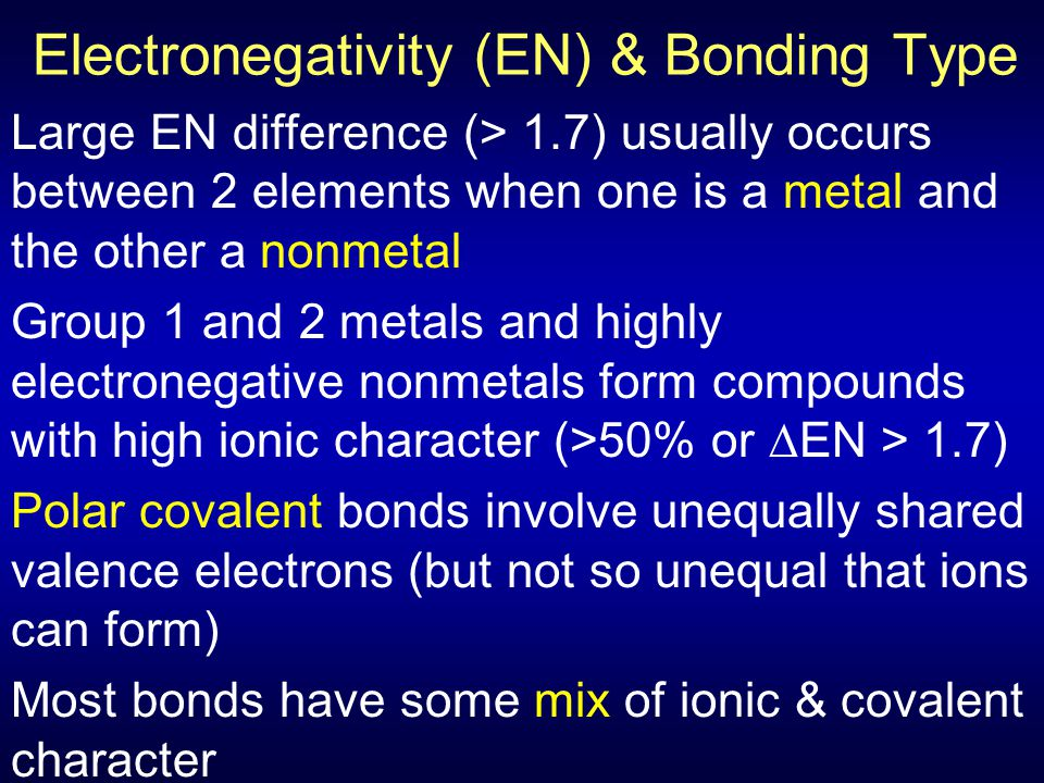 Electronegativity (EN) & Bonding Type