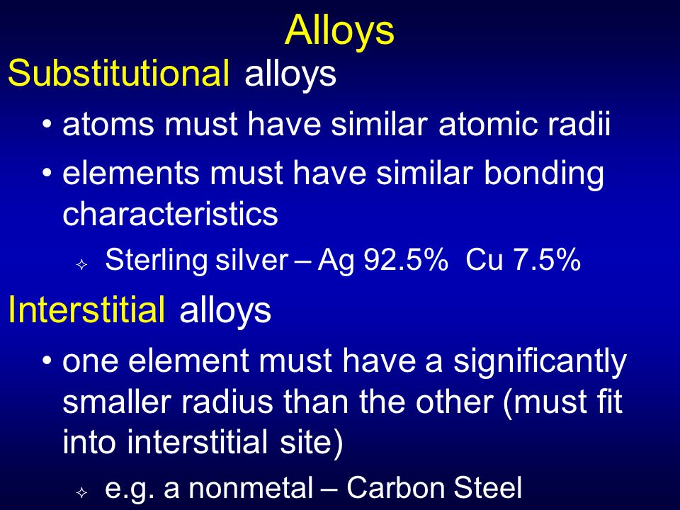 Alloys Substitutional alloys Interstitial alloys
