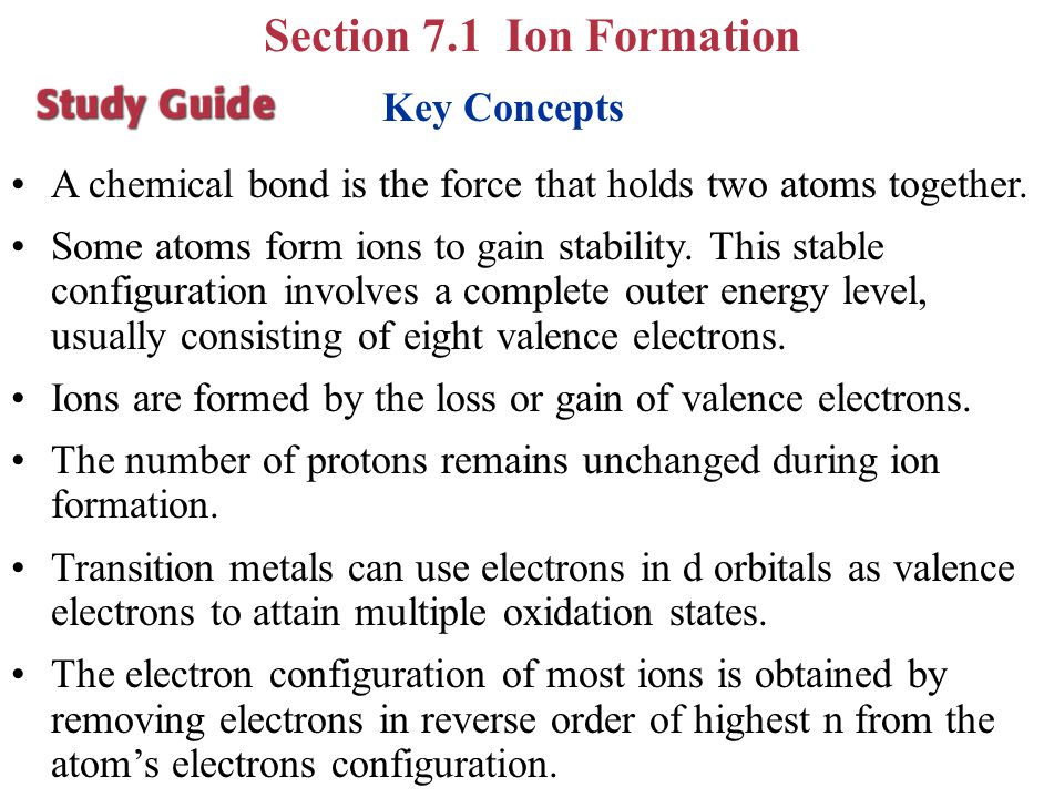 Section 7.1 Ion Formation Key Concepts
