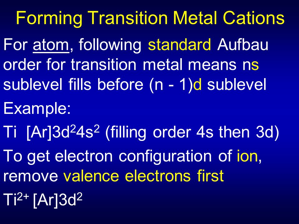 Forming Transition Metal Cations