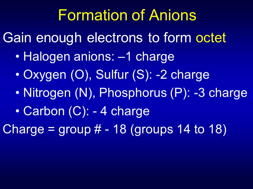 Formation of Anions Gain enough electrons to form octet
