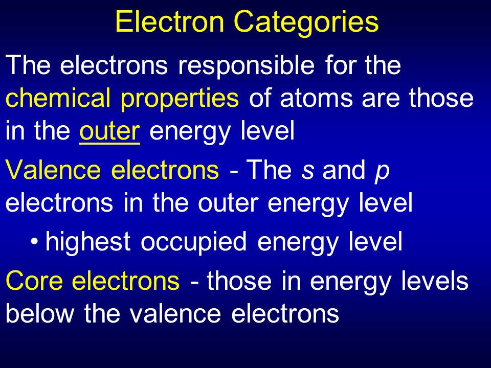 Electron Categories The electrons responsible for the chemical properties of atoms are those in the outer energy level.