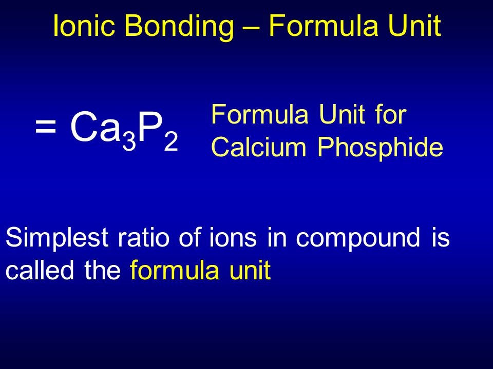 Ionic Bonding – Formula Unit