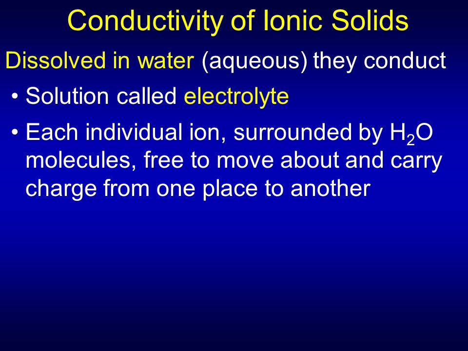 Conductivity of Ionic Solids