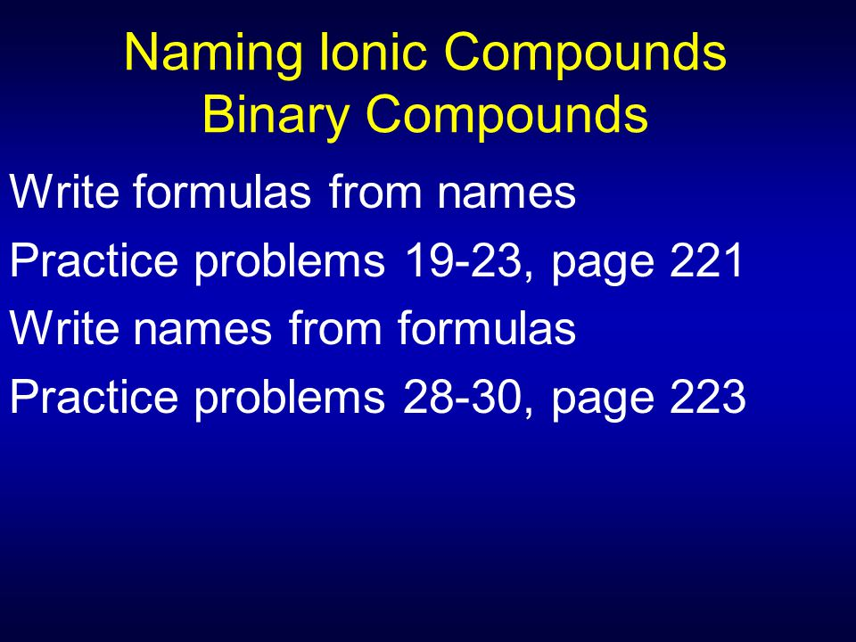 Naming Ionic Compounds Binary Compounds