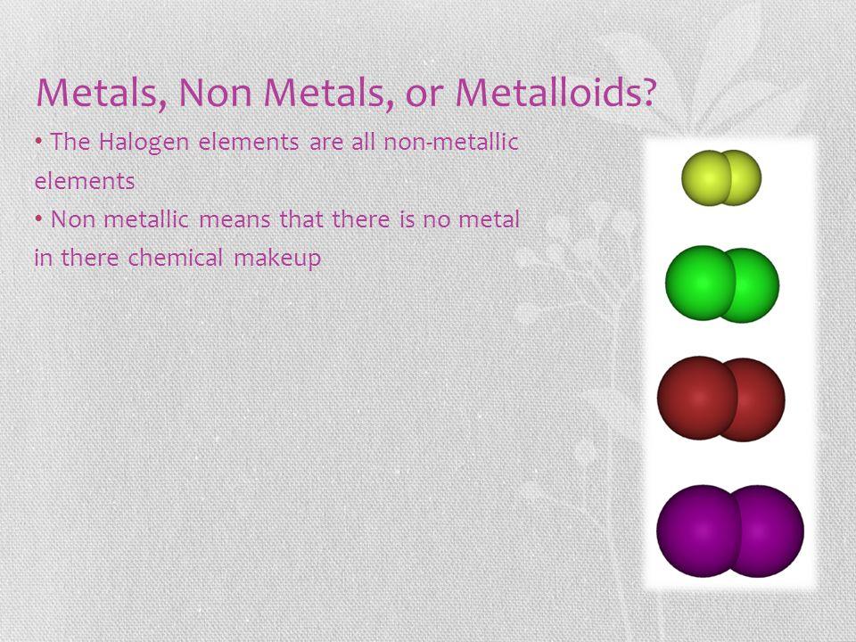 Metals, Non Metals, or Metalloids