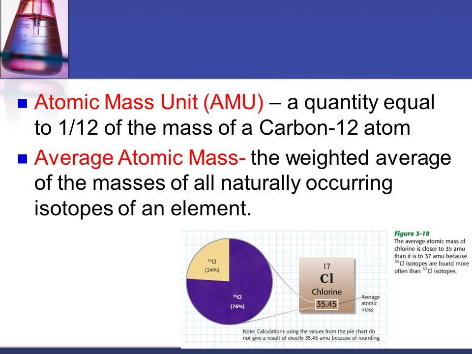 Atomic Mass Unit (AMU) – a quantity equal to 1/12 of the mass of a Carbon-12 atom