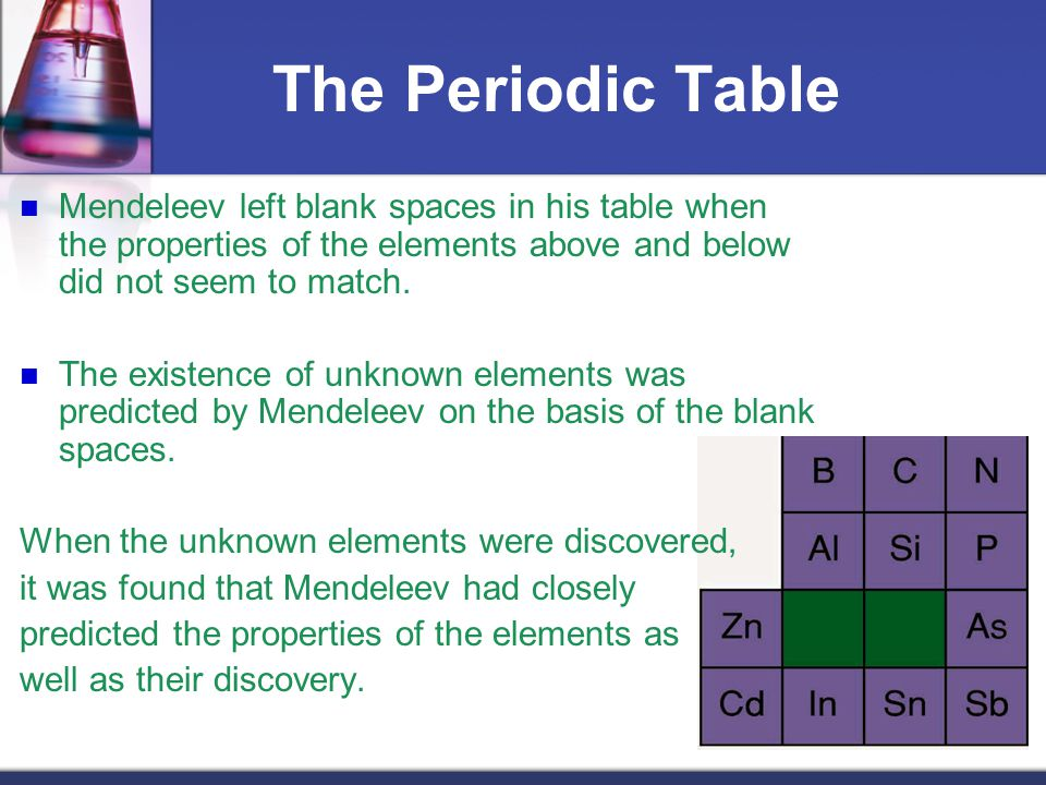 The Periodic Table Mendeleev left blank spaces in his table when the properties of the elements above and below did not seem to match.