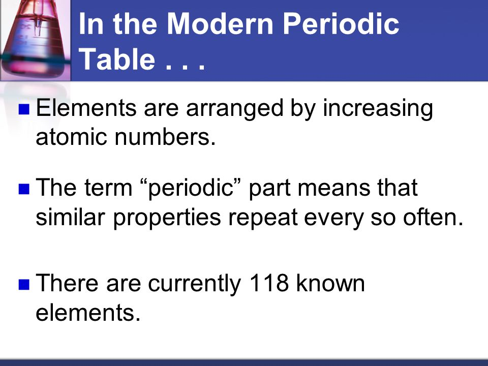 In the Modern Periodic Table . . .