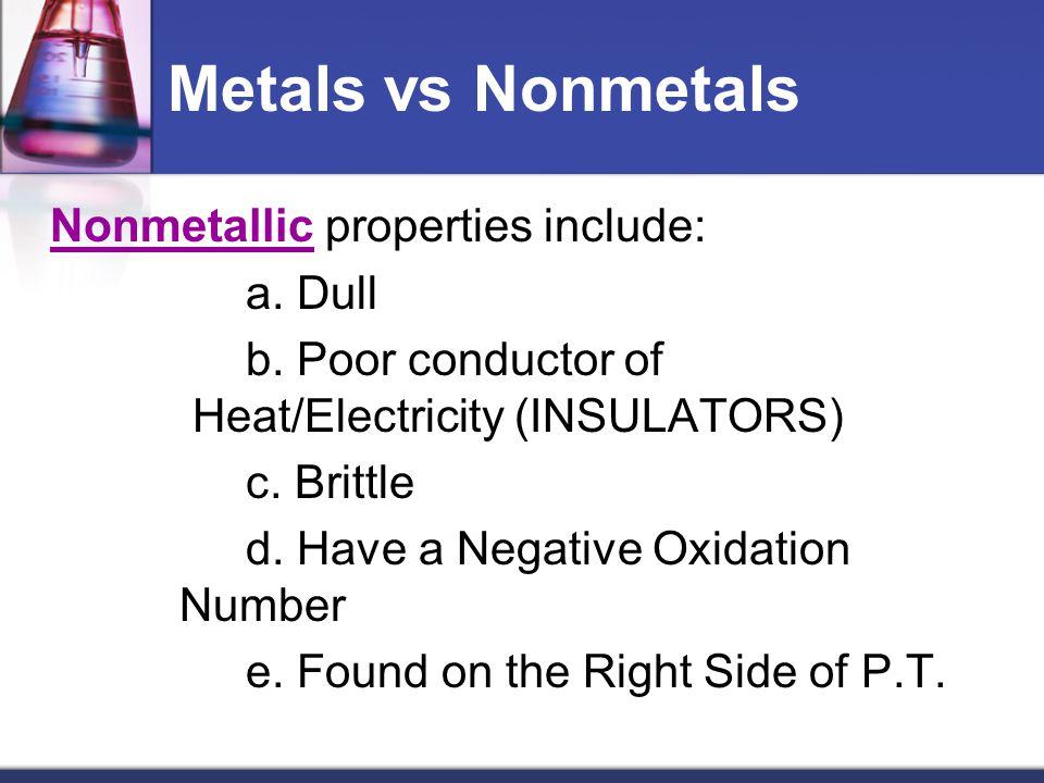 Metals vs Nonmetals Nonmetallic properties include: a. Dull