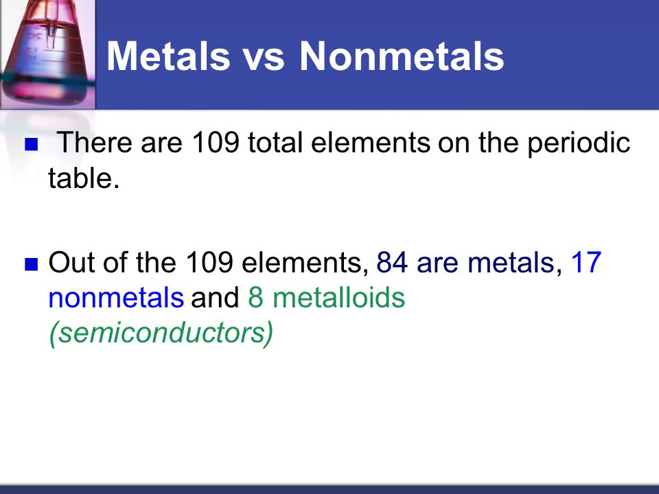 Metals vs Nonmetals There are 109 total elements on the periodic table.