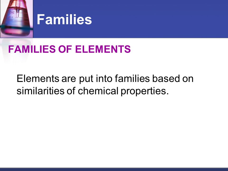 Families FAMILIES OF ELEMENTS