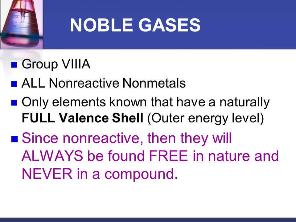 NOBLE GASES Group VIIIA. ALL Nonreactive Nonmetals. Only elements known that have a naturally FULL Valence Shell (Outer energy level)