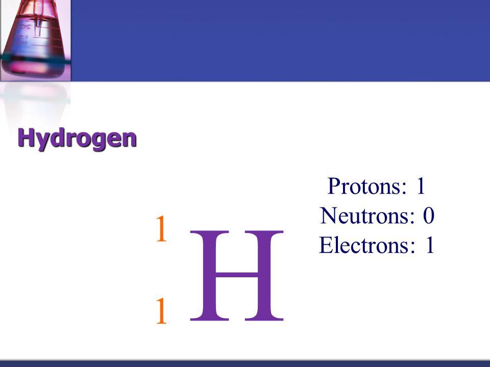 Hydrogen Protons: 1 Neutrons: 0 Electrons: 1 H 1 1