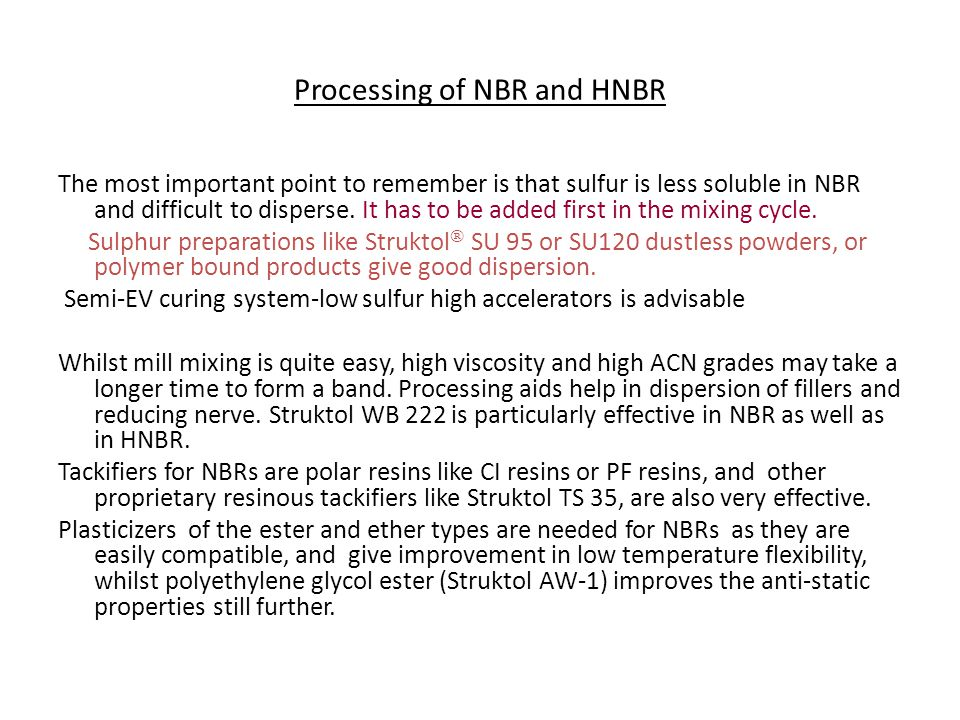 Processing of NBR and HNBR