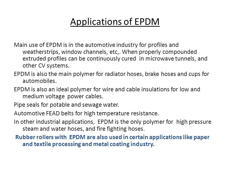 Applications of EPDM