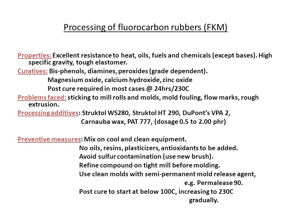 Processing of fluorocarbon rubbers (FKM)