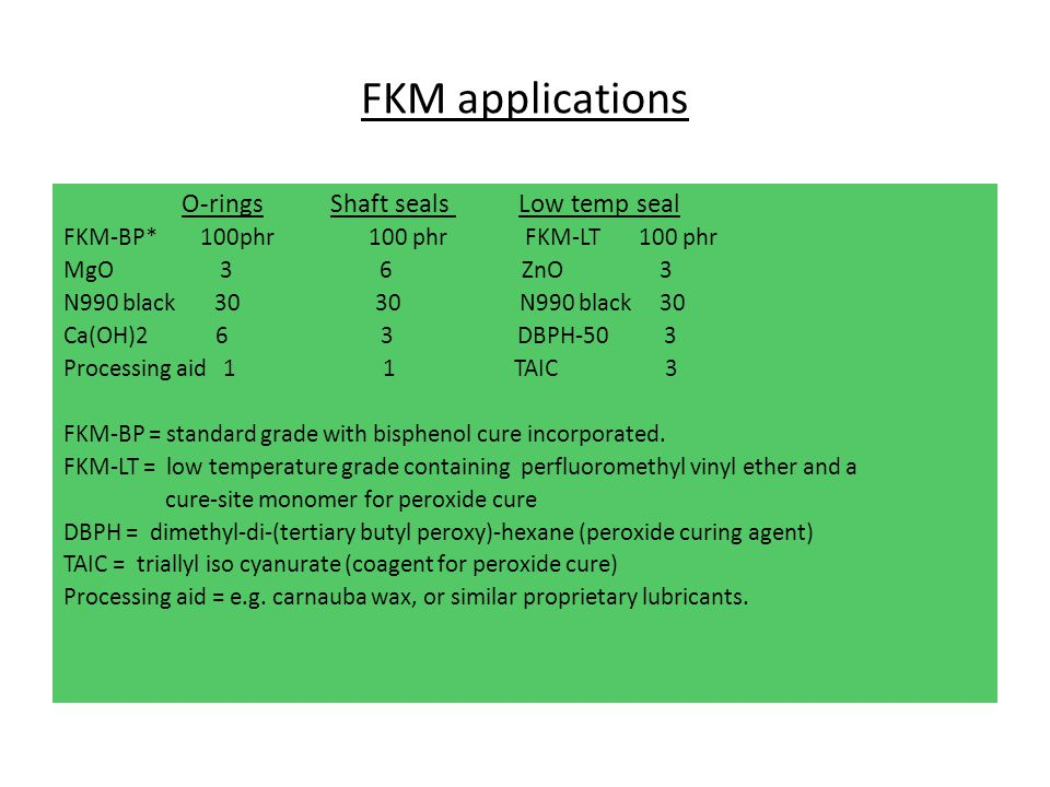 FKM applications O-rings Shaft seals Low temp seal