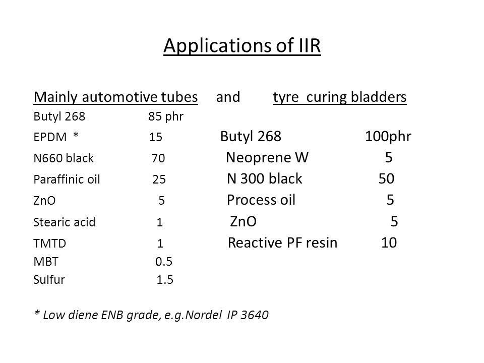 Applications of IIR Mainly automotive tubes and tyre curing bladders